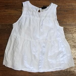 Ruffled High Neck White Tank Babydoll